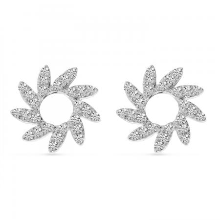 14K White Gold Diamond Pinwheel Earrings