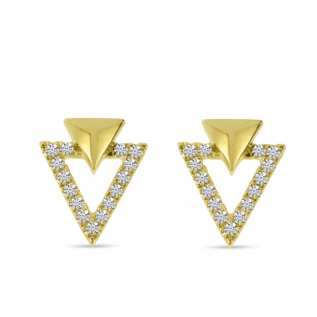 14K Yellow Gold Diamond Double Triangle Earrings