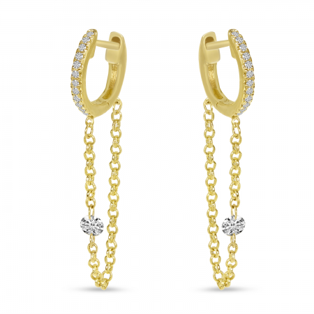 14K Yellow Gold Dashing Diamond Single Diamond Chain Huggie Earrings
