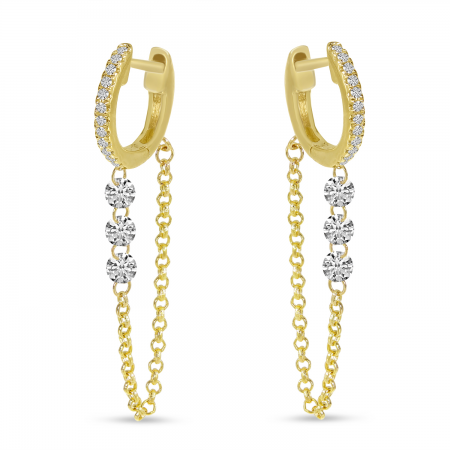 14K Yellow Gold Dashing Diamond Triple Diamond Chain Huggie Earrings