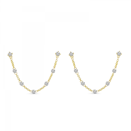 14K Yellow Gold Dashing Diamond Double Hole Chain Earrings