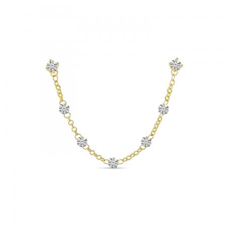14K Yellow Gold Dashing Diamond Double Hole Chain Earring