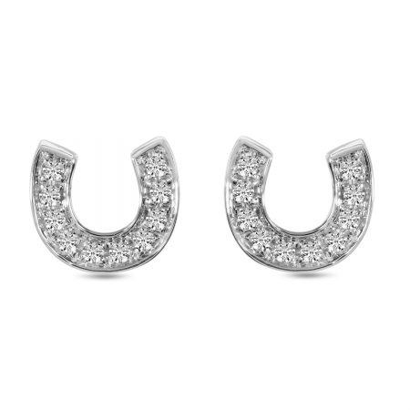 14K White Gold Diamond Horseshoe Stud Earrings