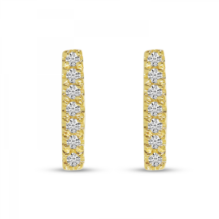 14K Yellow Gold Diamond Bar Stud Earrings