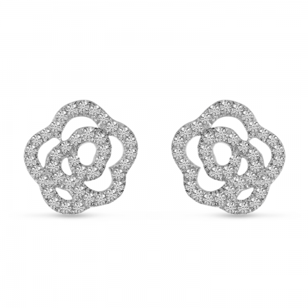 14K Yellow Gold Diamond Petite Flower Stud Earrings