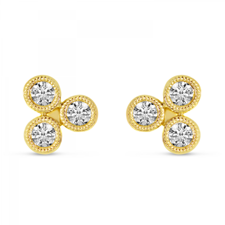 14K Yellow Gold Triple Diamond Bezel Stud Earrings
