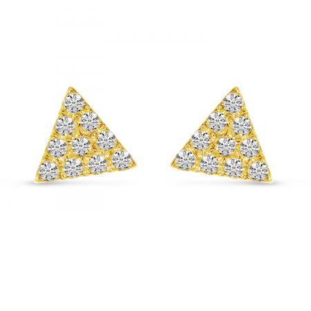 14K Yellow Gold Diamond Petite Triangle Stud Earrings