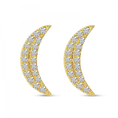 14K Yellow Gold Diamond Moon Stud Earrings