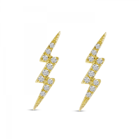14K Yellow Gold Small Diamond Lightning Bolt Stud Earrings