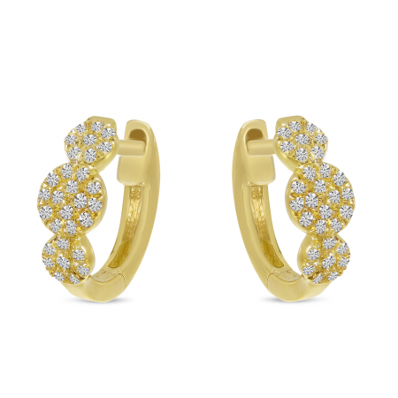 14K Yellow Gold Triple Pave Diamond Huggie Earrings