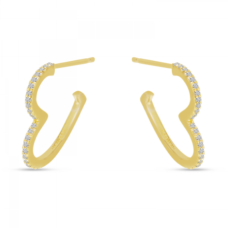 14K Yellow Gold Diamond Open Heart Hoop Earrings