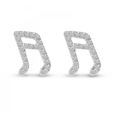 14K White Gold Diamond Music Note Stud Earrings