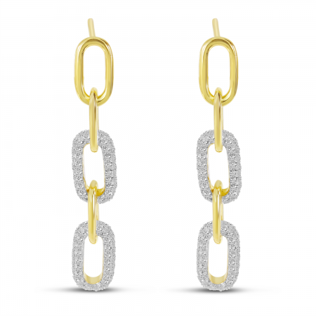 14K Yellow Gold Diamond Paperclip Link Earrings