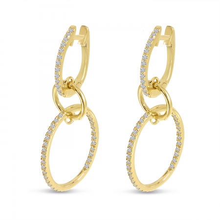 14K Yellow Gold Double Diamond Hoop Earrings