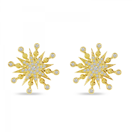 14K Yellow Gold Diamond Bold Starburst Stud Earrings