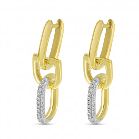 14K Yellow Gold Diamond Link Horseshoe Earrings