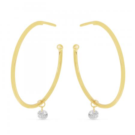 14K Yellow Gold Dashing Diamonds Sliding Diamond Hoop Earrings