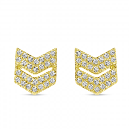 14K Yellow Gold Diamond Chevron Stud Earrings