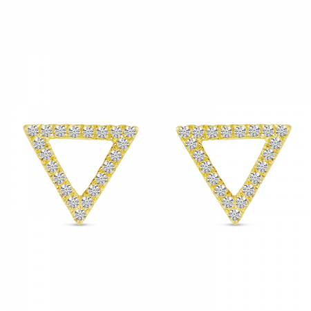 14K Yellow Gold Diamond Open Triangle Stud Earrings