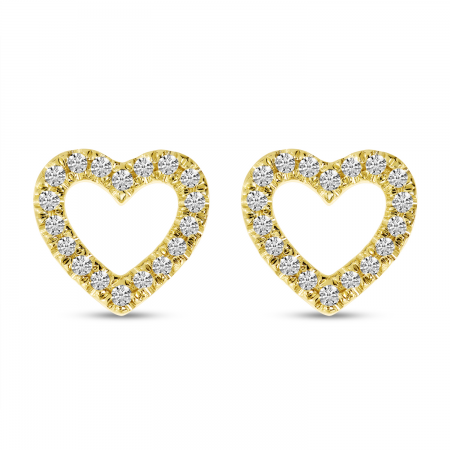 14K Yellow Gold Diamond Open Heart Stud Earrings