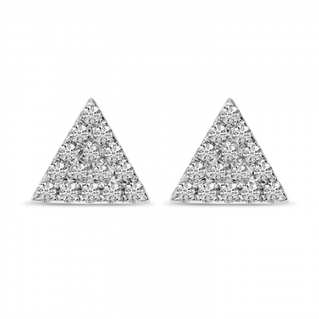 14K White Gold Small Diamond Pave Triangle Stud Earrings