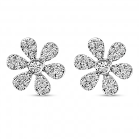 14K White Gold Small Diamond Pave Flower Stud Earrings