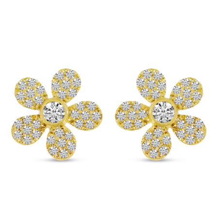 14K Yellow Gold Diamond Pave Flower Stud Earrings