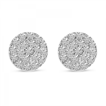 14K White Gold Small Diamond Pave Disc Stud Earrings