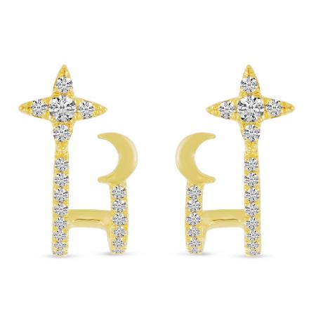 14K Yellow Gold Star & Moon Diamond Cuff Earrings