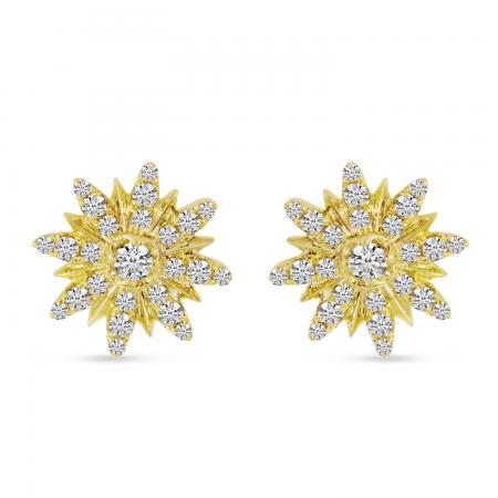 14K Yellow Gold Starburst Diamond Earrings
