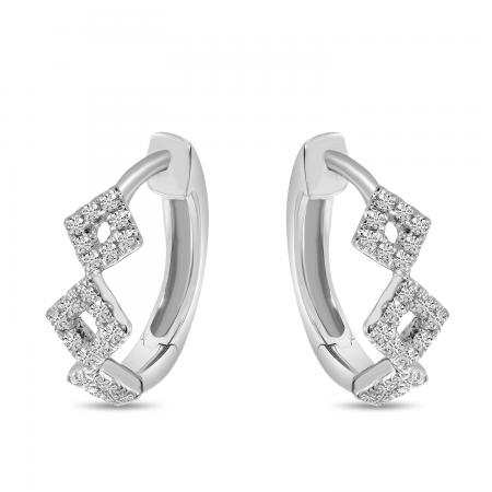 14K White Gold Diamond Geometric Hoop Earrings
