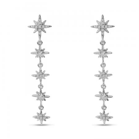 14K White Gold Celestial Diamond Dangle Earrings