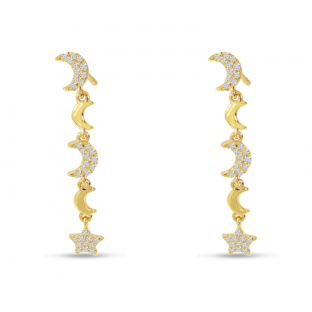 14K Yellow Gold Star & Moon Diamond Dangle Earrings