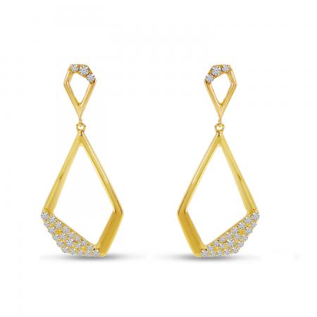 14K Yellow Gold Geometric Diamond Dangle Earrings