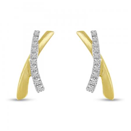 14K Yellow Gold Brushed Gold X Earrings