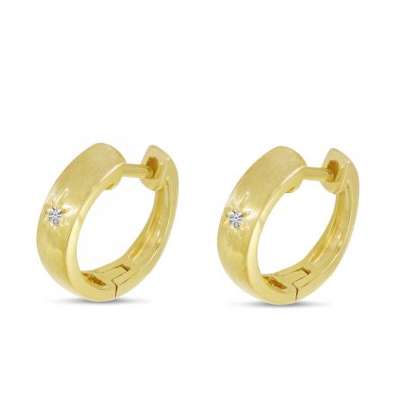 14K Yellow Gold Single Diamond Star Brushed Gold Huggie Earrings