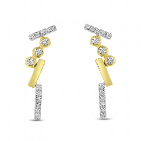 14K Yellow Gold Diamond Bezel Brushed Earrings