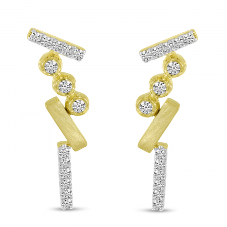14K Yellow Gold Diamond Bezel Brushed Earrings