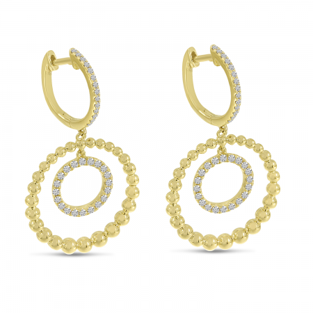 14K Yellow Gold Beaded Sphere Dangle Earrings