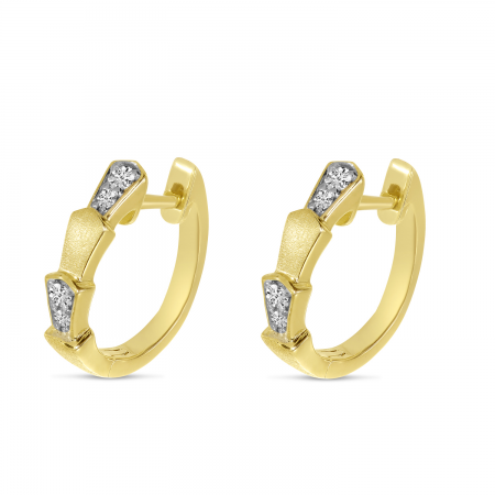 14K Yellow Gold Art Deco Brushed Station Huggie Earrings