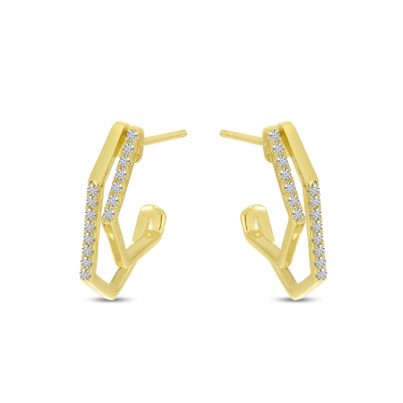 14K Yellow Gold Diamond Geometric Double Hoop Earrings
