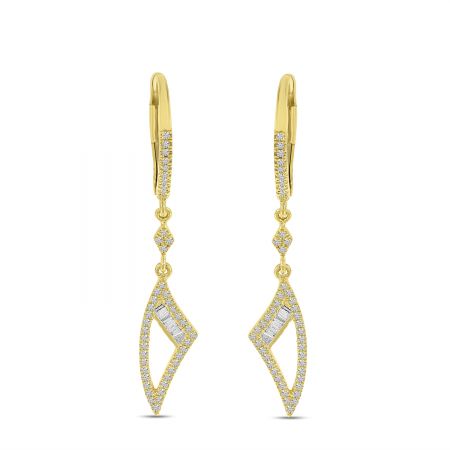 14K Yellow Gold Diamond Baguette Dangle Earrings