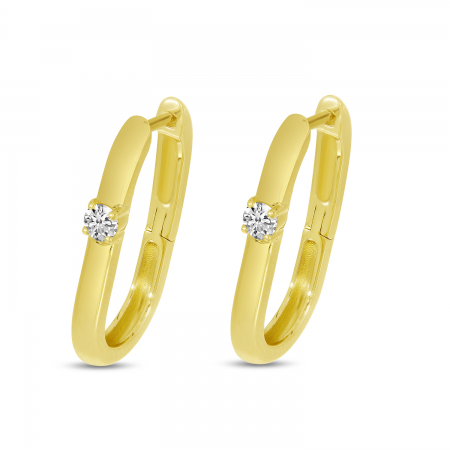 14K Yellow Gold Oval Hoop Earrings With Single Diamond