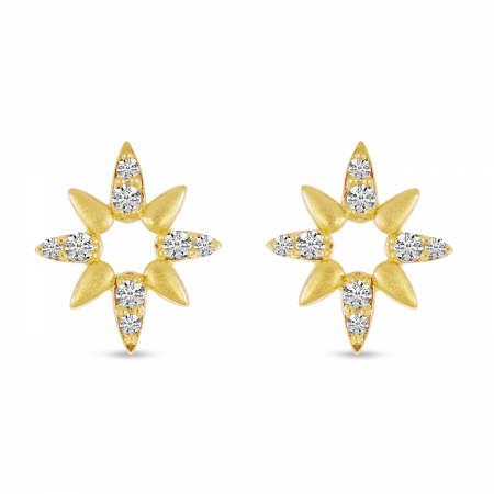 14K Yellow Gold Diamond Brushed Burst Stud Earrings