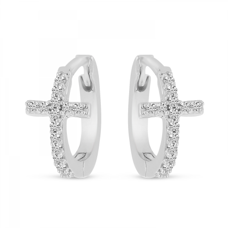 14K White Gold Diamond Cross Huggie Earrings