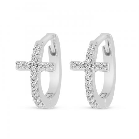 14K White Gold Diamond Cross Huggie Earrings