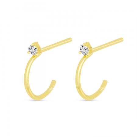 14K Yellow Gold Single Diamond Post Huggie Earrings