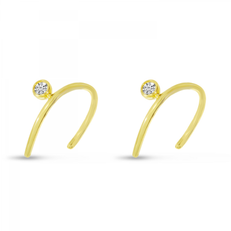 14K Yellow Gold Single Diamond Horseshoe Earrings