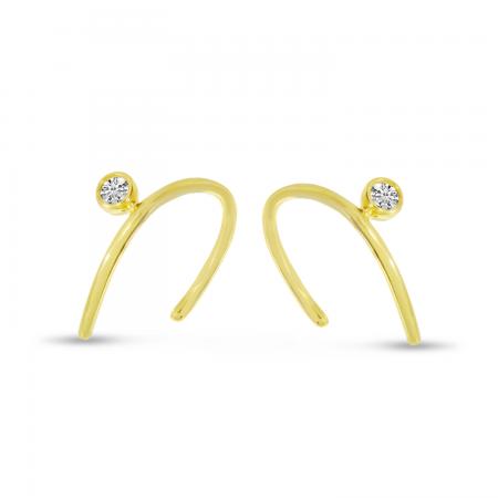 14K Yellow Gold Single Diamond Horseshoe Earrings