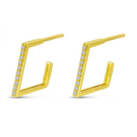 14K Yellow Gold Diamond Geometric Huggie Earrings